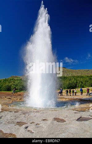 eruption of geysir Strokkur, Iceland, Haukadalur - Stock Photo