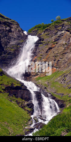 waterfall of Laisonnay, France, Savoie, Vanoise National Park, Valley of Champagny - Stock Photo