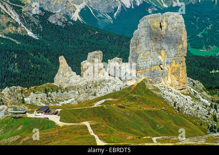 Cinque Torri near Pass Giau, Italy, South Tyrol, Dolomiten - Stock Photo