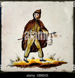 Tiles with Figures Professions Occupations Spain Spanish - Stock Photo