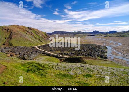 cooled off lava stream Landmannalaugar, Iceland - Stock Photo