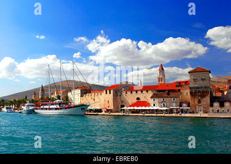 view to old town of Trogir and Cathedral of St. Lawrence, Croatia, Trogir - Stock Photo