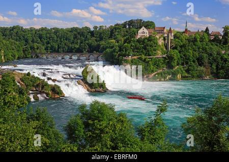 Rhine Falls near Schaffhausen with Castle Laufen and a excursion boat, Switzerland, Schaffhausen - Stock Photo