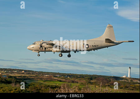 A Lockheed Martin 4 Engined P3 Orion Surveillance and Submarine Hunter Aircraft arriving in Morayshire, Scotland. - Stock Photo