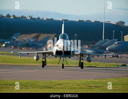 Eurofighter Typhoon FRG4 'ZK345' Military Jet Fighter preparing to depart RAF Lossiemouth air base. SCO 9275 - Stock Photo