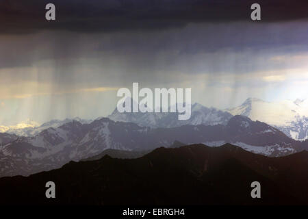 thunderstorm over the Swiss Alps, view from Pilatus, Switzerland - Stock Photo
