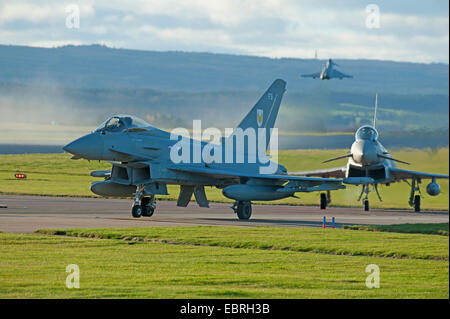 Eurofighter Typhoon FRG4s Military Jet Fighter preparing to depart RAF Lossiemouth air base.  SCO 9278. - Stock Photo