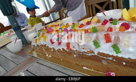 elaborate fancy cake on a little boy's birthday - Stock Photo