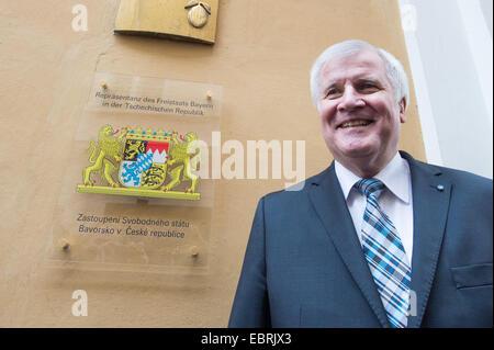 Prague, Czech Republic. 04th Dec, 2014. Bavarian Premier Horst Seehofer stands in front of the Bavarian representative - Stock Photo