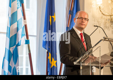 Prague, Czech Republic. 04th Dec, 2014. Czech Prime Minister Bohuslav Sobotka speaks at the Bavarian representative - Stock Photo