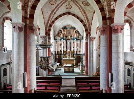 interior view of the Romanic church Sankt Peter und Paul in Wormbach , Germany, North Rhine-Westphalia, Sauerland, - Stock Photo