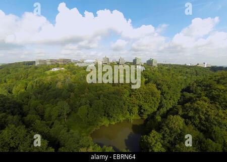 aerial view of Ruhr-University Bochum, Botanical Garden of bochum in the foreground, Germany, North Rhine-Westphalia, - Stock Photo