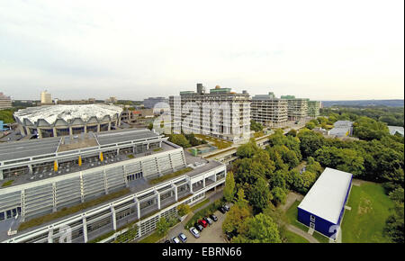 aerial view to the Ruhr-Universitaet Bochum with refectory, Audimax, natural sciences and engineering sciences, - Stock Photo