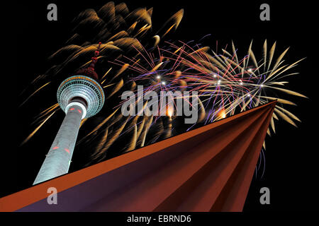 Fernsehturm Berlin at Alexander square with silvester fireworks, Germany, Berlin - Stock Photo