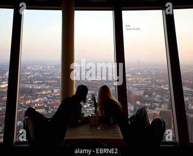 two person enjoying the view from Rheinturm Duesseldorf, Germany, North Rhine-Westphalia, Duesseldorf - Stock Photo