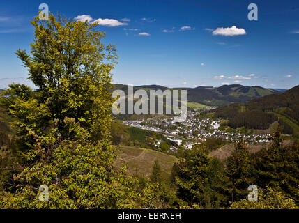 panoramic view from thelook-out Hohe Bracht at the distant district Altenhundem, Germany, North Rhine-Westphalia, - Stock Photo