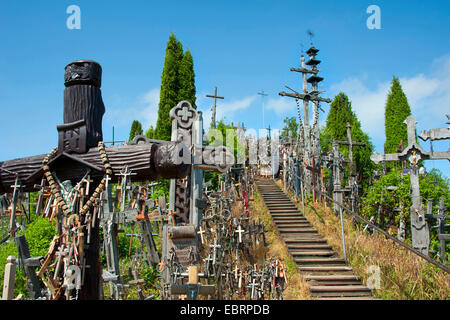 stairs to the Hill of Crosses, Lithuania, Siauliai - Stock Photo
