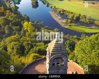aerial view to Berger monument at the Hohenstein with view on the Ruhr, Germany, North Rhine-Westphalia, Ruhr Area, - Stock Photo