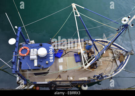trawler from above, France, Brittany, Erquy - Stock Photo