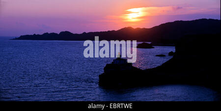 lighthouse Madonetta at sunset in the south of Corsica island, France, Corsica, Bonifacio - Stock Photo