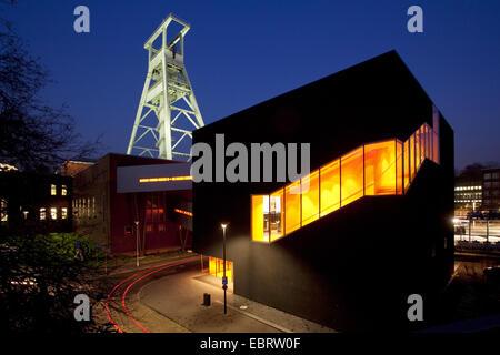 illuminated German mining museum with 'Black Diamond' in twilight, Germany, North Rhine-Westphalia, Ruhr Area, Bochum - Stock Photo