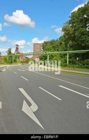 road near to Zeche Zollverein, Germany, North Rhine-Westphalia, Ruhr Area, Essen - Stock Photo