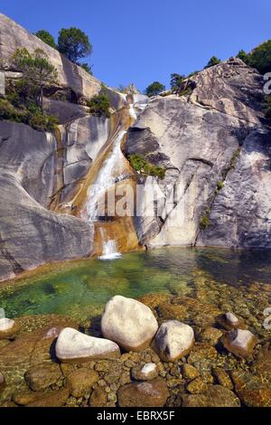 waterfall in the canyon of Purcaraccia in Bavella mountains, France, Corsica, Bavella, Porto Vecchio Zonza - Stock Photo
