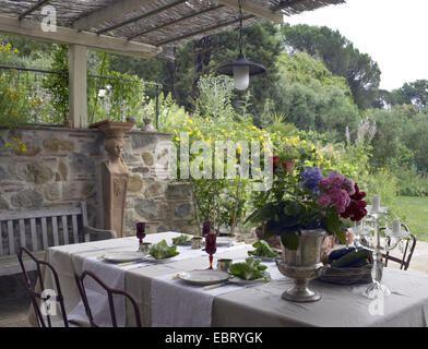Table set in a patio in a house in the country side of Italy, Tuscany during the summer season - Stock Photo