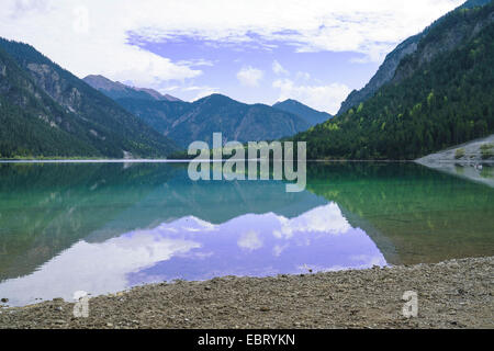 Lake Plansee, Geierkoepfe Mountains in background, Austria, Tyrol - Stock Photo
