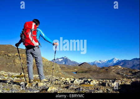 wanderer looking to the Mont Blanc, France, Savoie, Vanoise National Park - Stock Photo