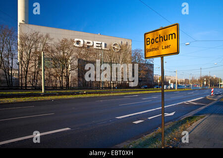 Opel works and Bochum place name sign, Germany, North Rhine-Westphalia, Ruhr Area, Bochum - Stock Photo