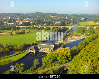 aerial view from Hohenstein to Ruhr valley with hydropower station Hohenstein, Germany, North Rhine-Westphalia, - Stock Photo