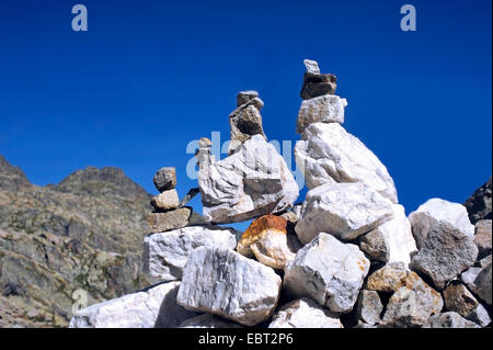 piles of stones in the valley of Merveilles, France, Alpes Maritimes, Mercantour National Park, Belvedere saint - Stock Photo