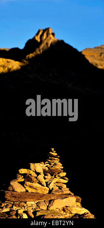 stone pile in the Valley of Marvels, France, Alpes Maritimes, Mercantour National Park, Belvedere saint Marin de - Stock Photo