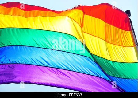 The rainbow pride flag flies at the 2014 World Pride in Toronto. - Stock Photo