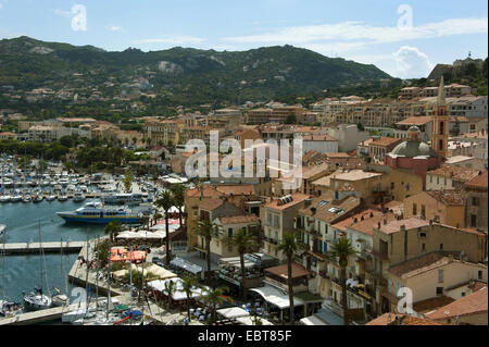 view from citadel to harbour and old city, France, Corsica - Stock Photo