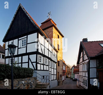 Teufelsturm in evening light, Germany, North Rhine-Westphalia, Sauerland, Menden - Stock Photo