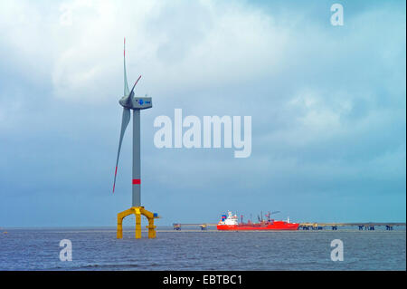 offshore wind engine and oil tanker, Germany, Lower Saxony, Frisia, Wilhelmshaven - Stock Photo