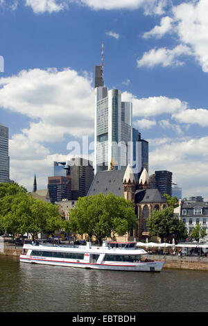 view over the Main at the Commerzbank Tower, Germany, Hesse, Frankfurt am Main - Stock Photo