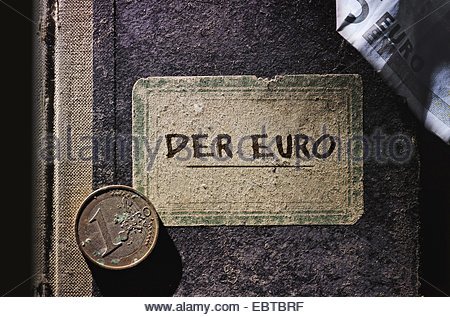 old book labeled 'Der Euro' - Stock Photo