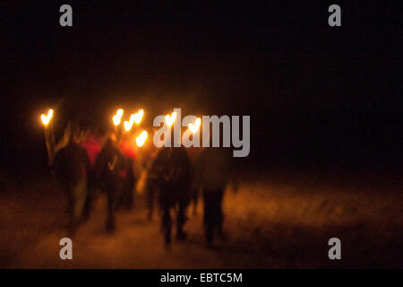 night walk with torches, Germany - Stock Photo