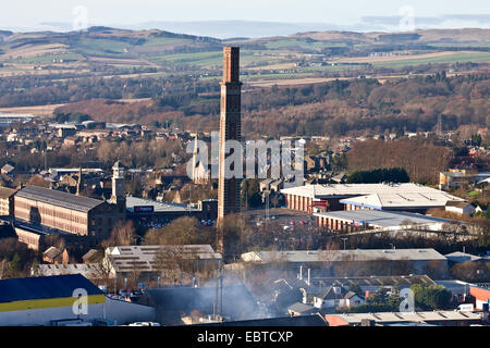 Early Winter landscape view of Lochee 'The Stack' retail leisure park and 'Cox`s Stack' 1800`s Jute Mill in Dundee, - Stock Photo