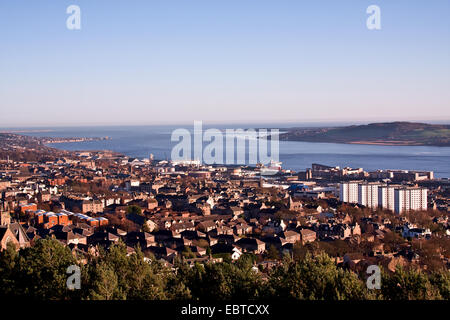 Landscape view of the River Tay Estuary and Dundee City in early Winter Sunshine, UK - Stock Photo