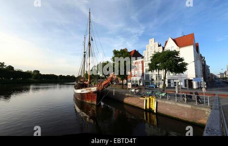 old schooner on River Trave, Germany, Schleswig Holstein, Luebeck - Stock Photo