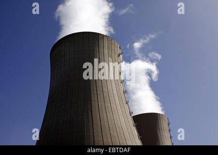 two looming cooling towers of the nuclear power plant Grohnde, Germany, Lower Saxony, Grohnde - Stock Photo