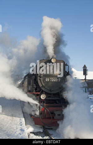train of the Harzquerbahn in full steam; the narrow-gauge railwayconnects the cities Nordhausen (Thuringia) and - Stock Photo