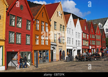 wooden houses in old town, hanseatic buildings of bryggen, Norway, Bergen - Stock Photo