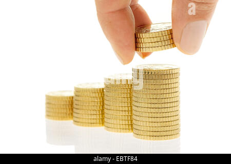 piles of 50 Cent coins - Stock Photo
