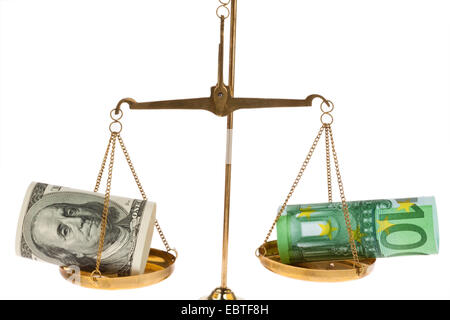 the weight of 100 Euro bill and 100 Dollar bill compared on a scale - Stock Photo