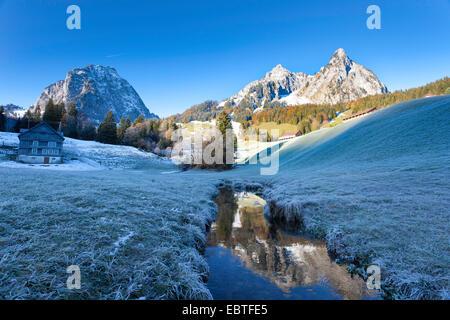 hoarfrost in a mountain meadow, Mythen mountains in background, Switzerland, Kanton Schwyz, Mythen - Stock Photo